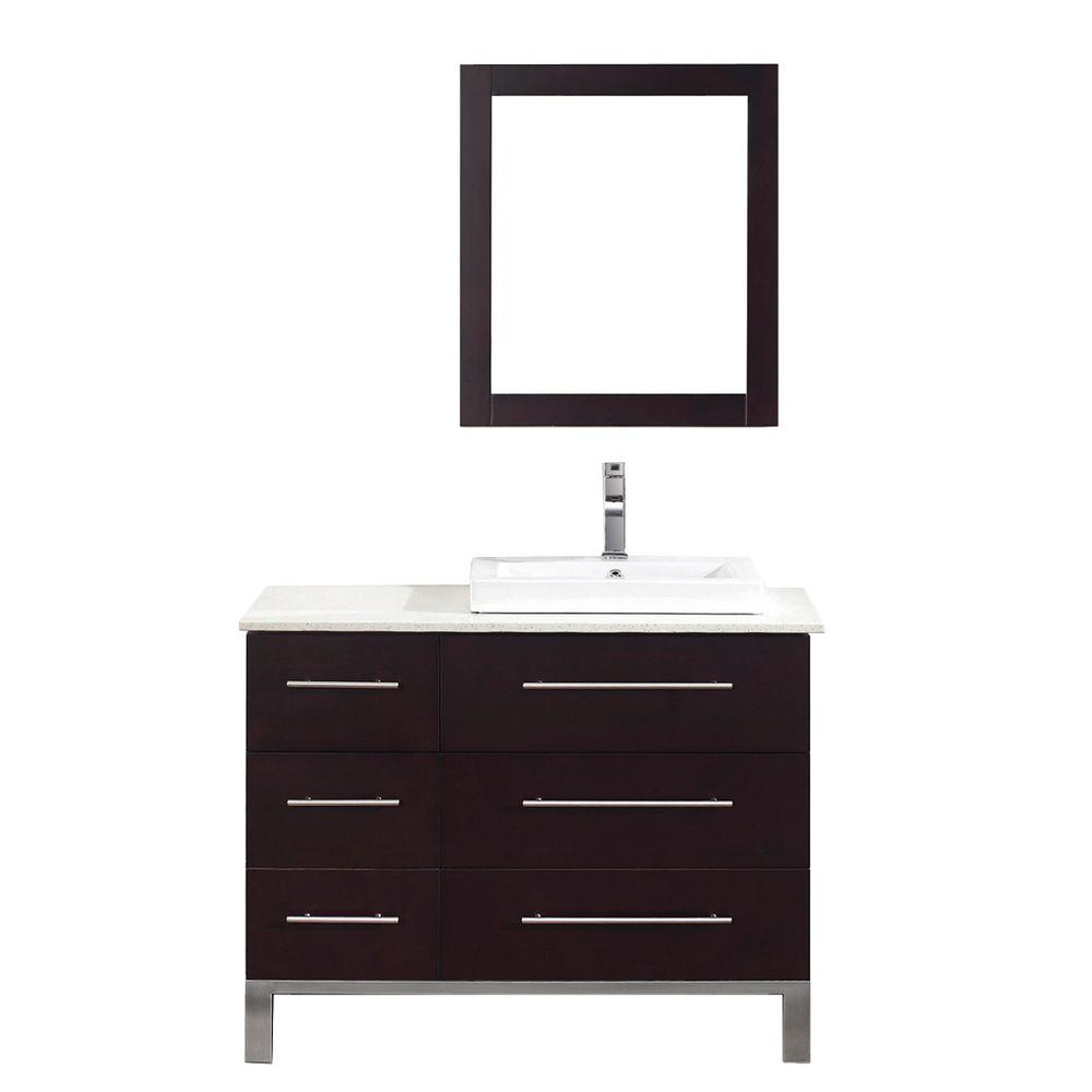 Studio Bathe Ginza 42 in. Vanity in Chai with Nougat Quartz Vanity Top in Chai and Mirror