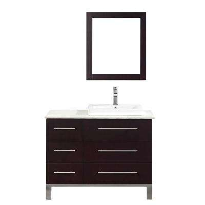 Ginza 42 in. Vanity in Chai with Nougat Quartz Vanity Top in Chai and Mirror