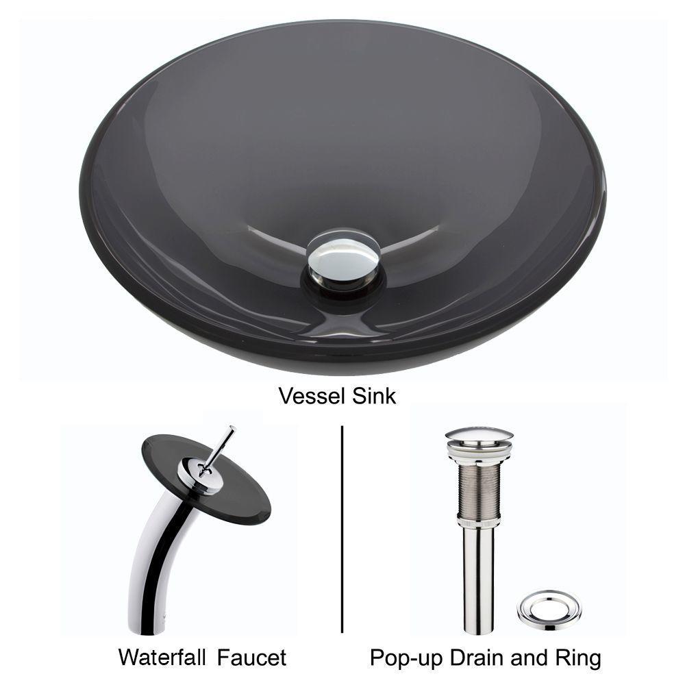 VIGO Glass Vessel Sink in Sheer Black with Waterfall Faucet Set in ...