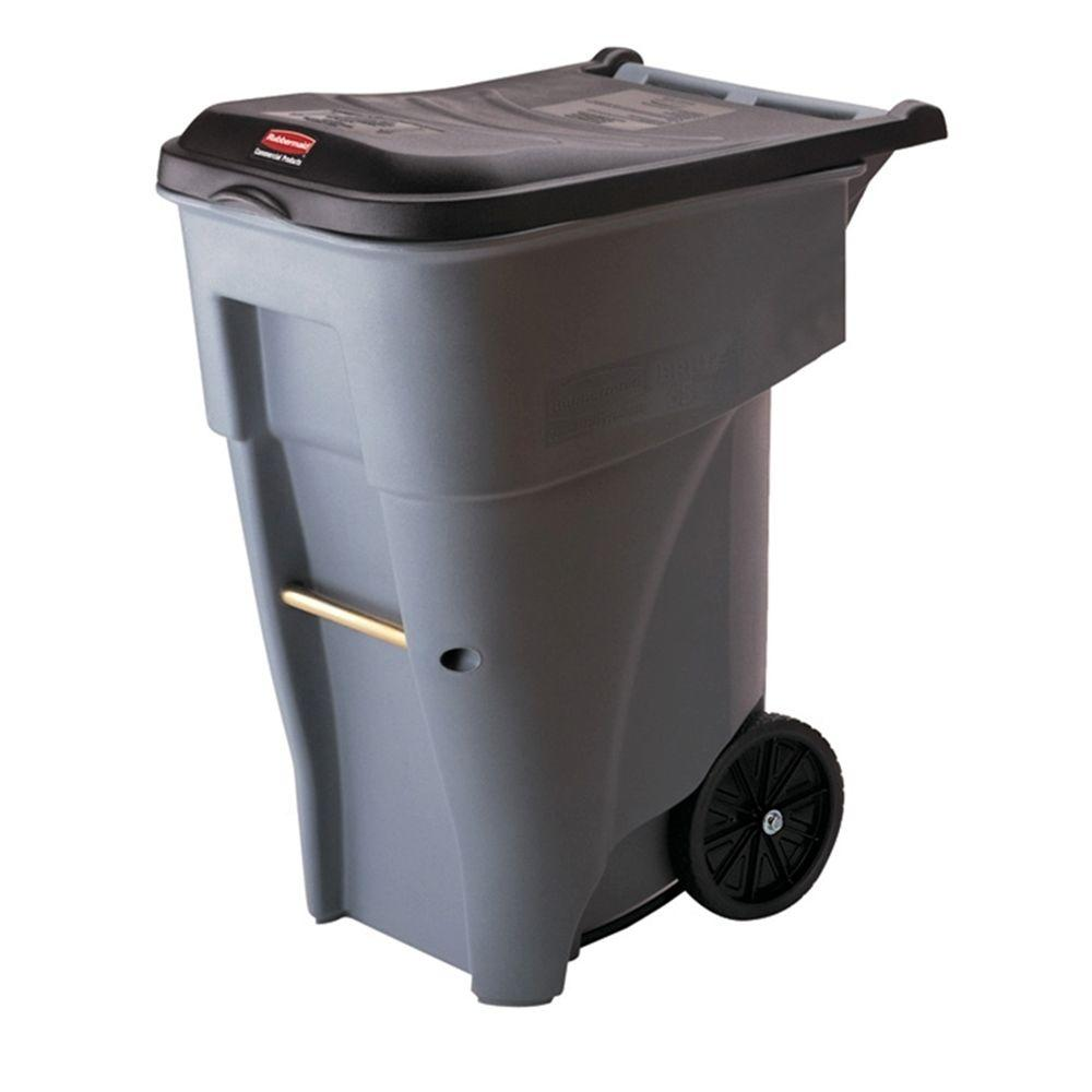 rubbermaid brute 65 gal grey rollout trash can with lid - Rubbermaid Trash Cans