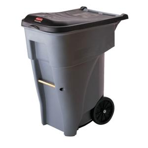 grey rollout trash can with lid - Commercial Trash Cans
