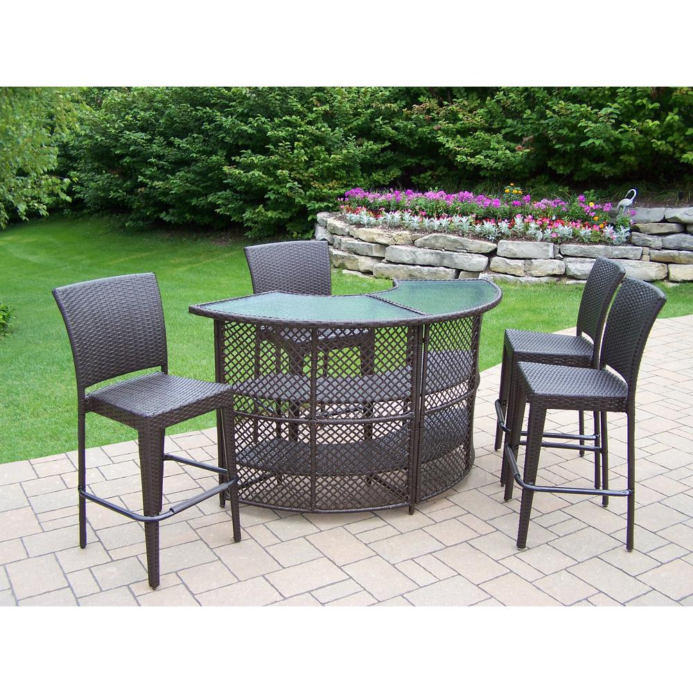 Elite 5-Piece Wicker Outdoor Serving Bar Set