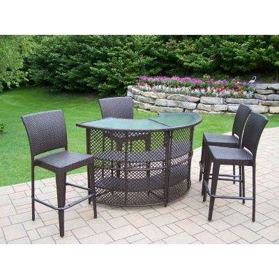 Elite 5-Piece Wicker Outdoor Serving Bar Set - Patio Bar Sets - Outdoor Bar Furniture - The Home Depot