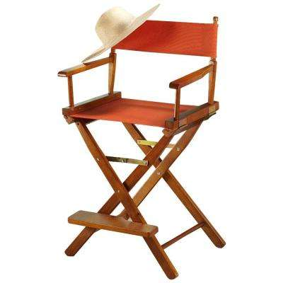 24 in. Director's Chair Honey Oak Solid Wood Frame