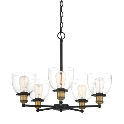 Bryson 5-Light Vintage Bronze Chandelier with Clear Glass Shade