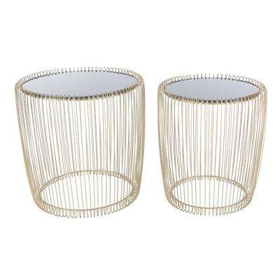 Modern Metal and Glass Cage Accent Table in Gold