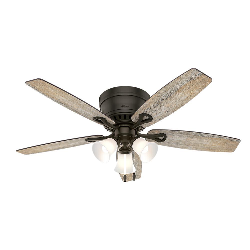 Hunter Oakhurst II 52 in. Low Profile LED Indoor New Bronze Ceiling Fan with Light Kit