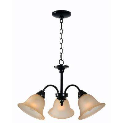 Flowers 3-Light Bronze Chandelier with Amber Glass Shade