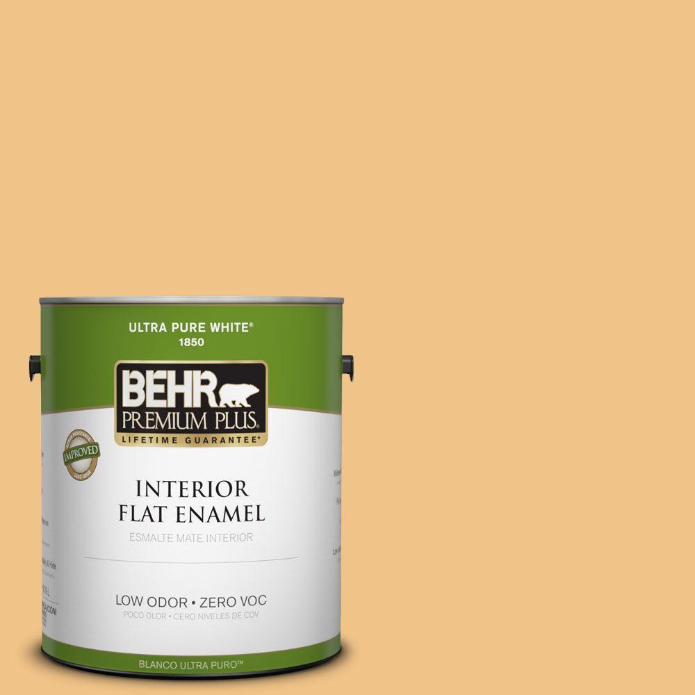 BEHR Premium Plus 1-gal. #PMD-30 Pollen Grains Zero VOC Flat Enamel Interior Paint-DISCONTINUED