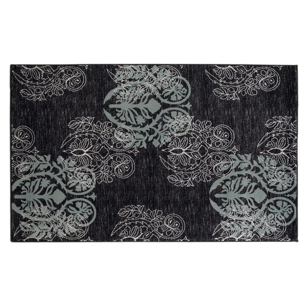 Linon Home Decor Milan Collection Black And Turquoise 2 Ft