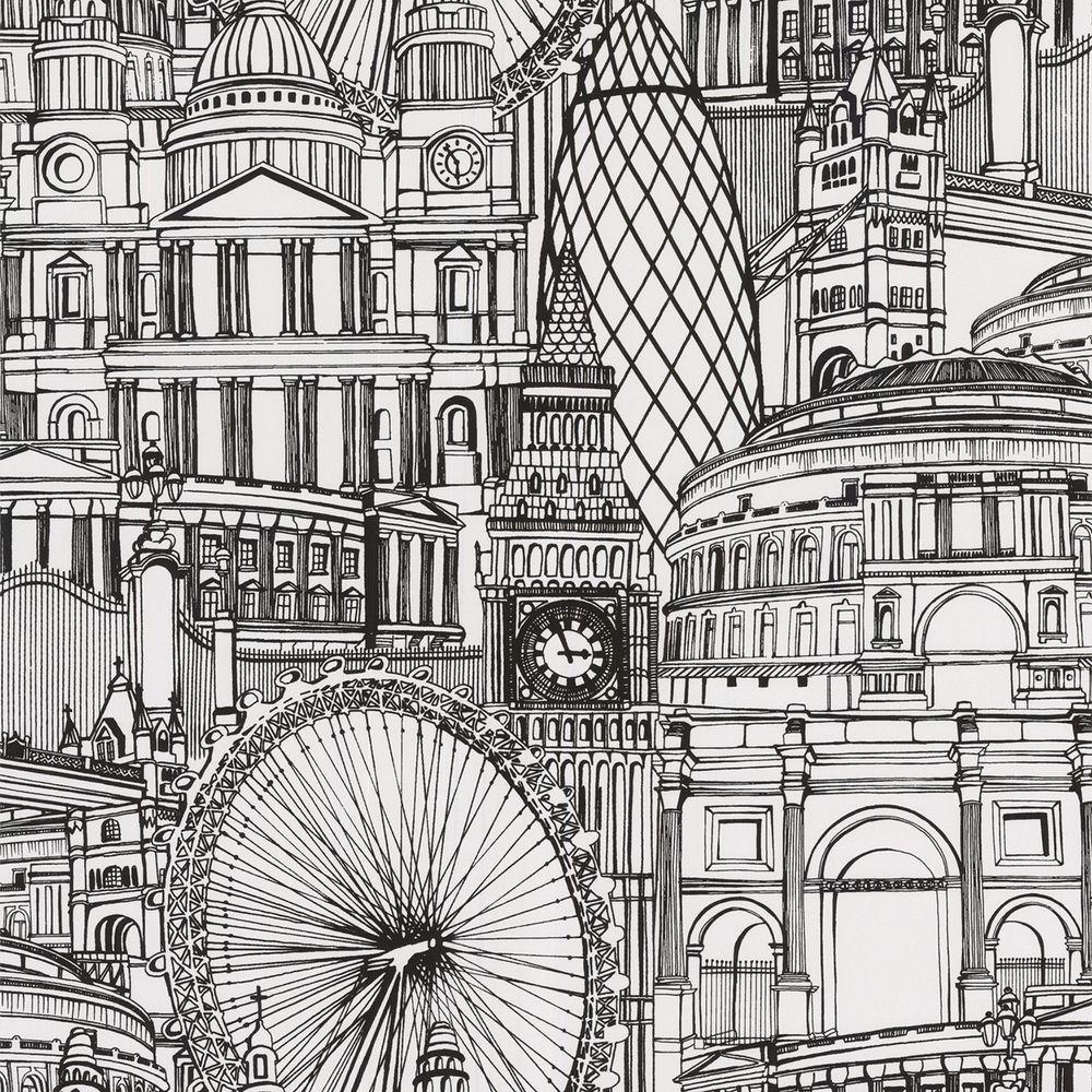 Londinium Black Wallpaper