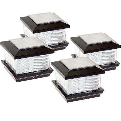 5 in. x 5 in. Solar Powered Integrated LED Black Plastic Post Cap Light with 4 in. and 5 in. Adapter (4-Pack)