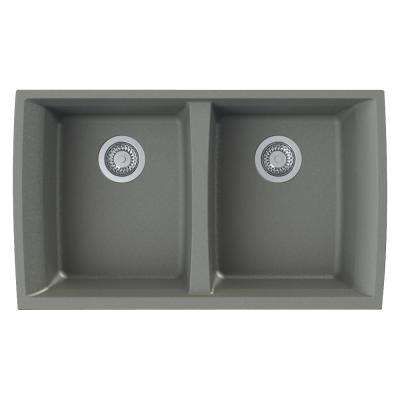 Genova Undermount Granite 33 in. Equal Double Bowl Kitchen Sink in Grey