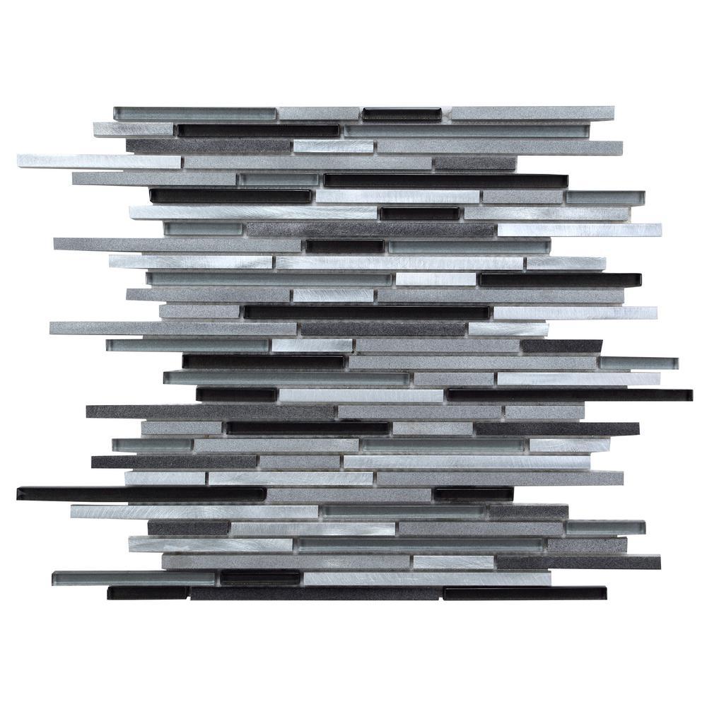 CHENX 11.81 in. x 15.98 in. x 8 mm Aluminum Metal Glass Backsplash in Black/Gray/White (14.38 sq. ft. / case)
