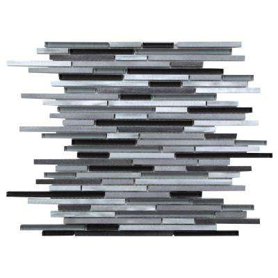 CHENX 11.81 in. x 15.98 in. x 8 mm Aluminum Metal Glass Backsplash in Black/Gray/White (14.38 sq. ft. / case)