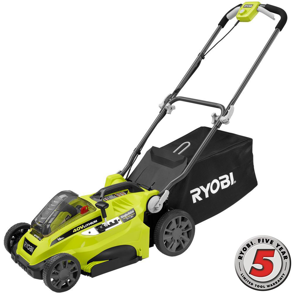 Ryobi 16 in. 40-Volt Lithium-Ion Cordless Battery Push Lawn Mower - 4.0 Ah Battery and Charger Included