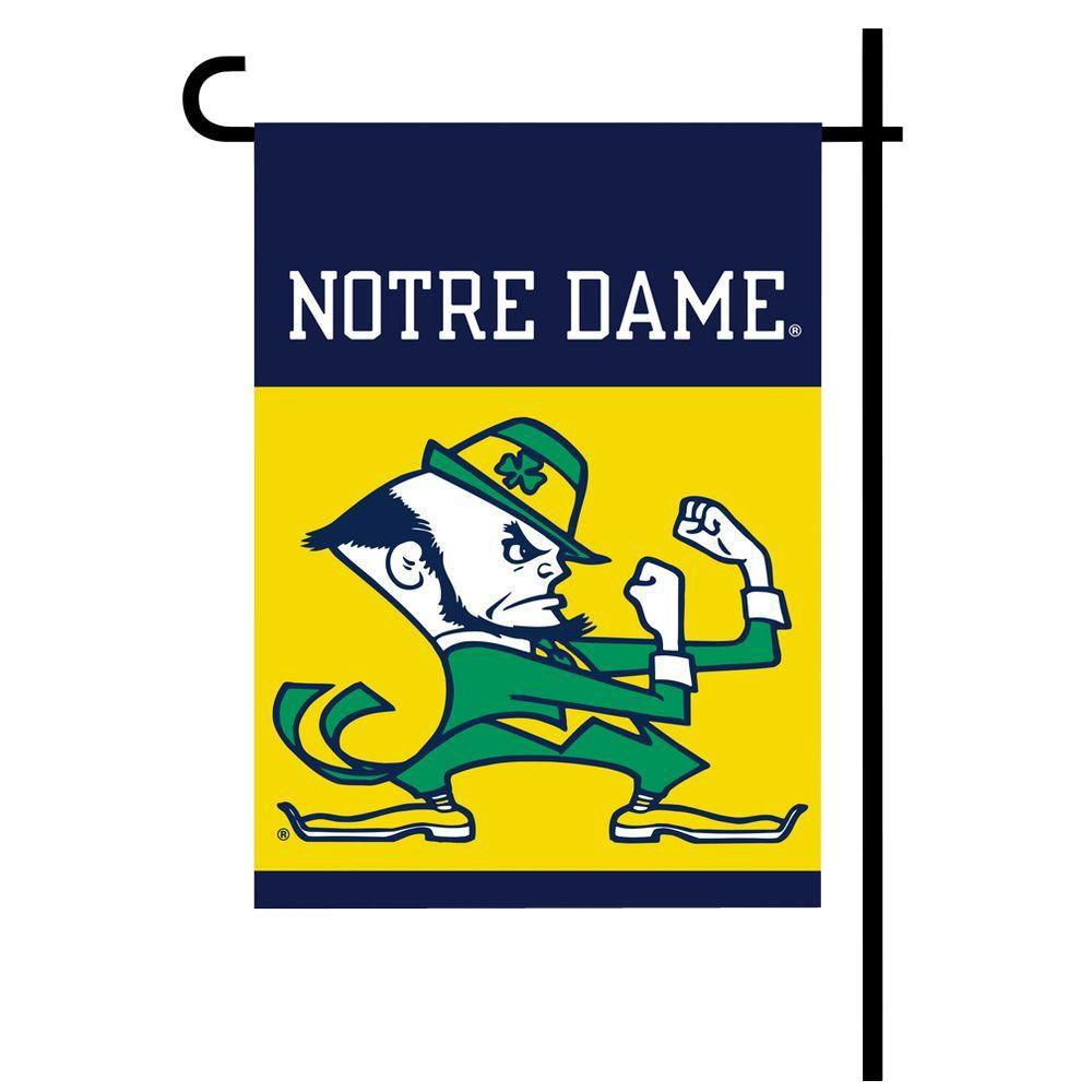 BSI Products NCAA 13 in. x 18 in. Notre Dame 2-Sided Garden Flag Set with 4 ft. Metal Flag Stand