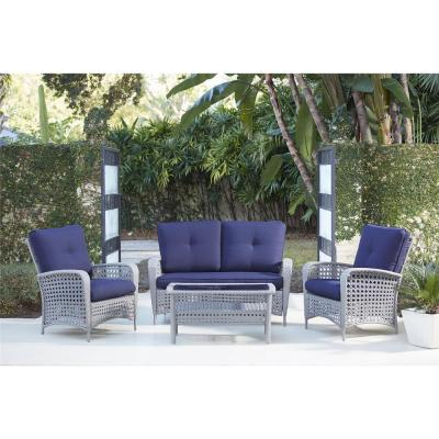 Lakewood Ranch 4-Piece Gray Resin Wicker Patio Conversation Set with Coffee Table and Navy Blue Cushion