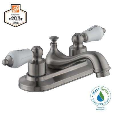 Teapot 4 in. Centerset 2-Handle Low-Arc Bathroom Faucet in Brushed Nickel