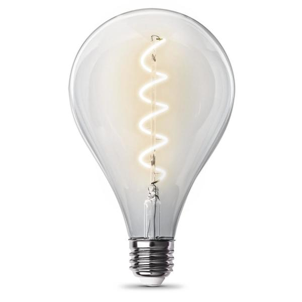 60-Watt Equivalent PS40 Clear Glass Vintage Oversized Spiral Filament Edison LED Light Bulb in Warm White (3-Pack)
