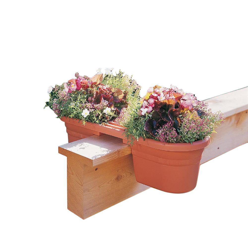 Bloem 21 in. Terra Cotta Plastic Milano Rail Planter