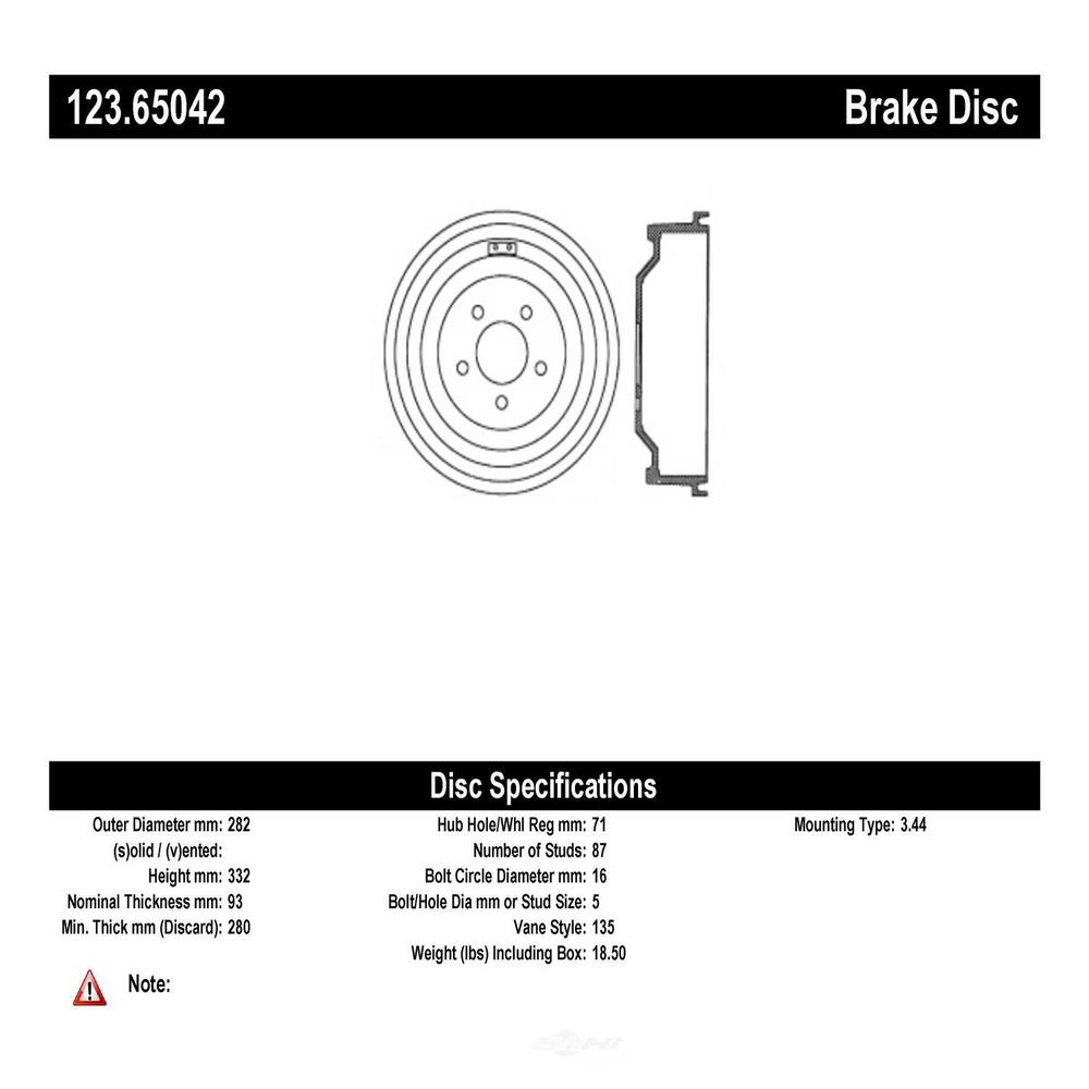 Centric Brake Drum 2000 2003 Ford F 150