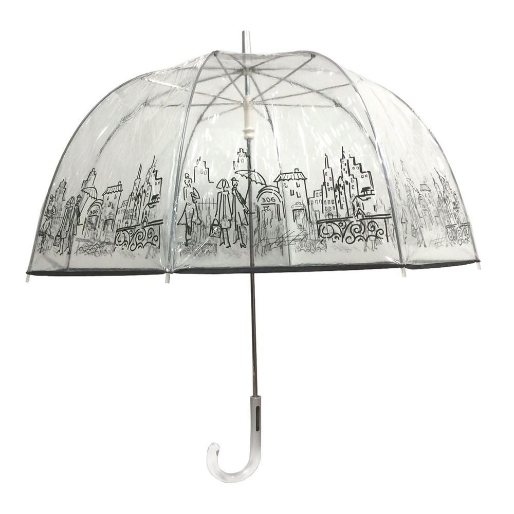 52 in. Arc Clear Umbrella in City