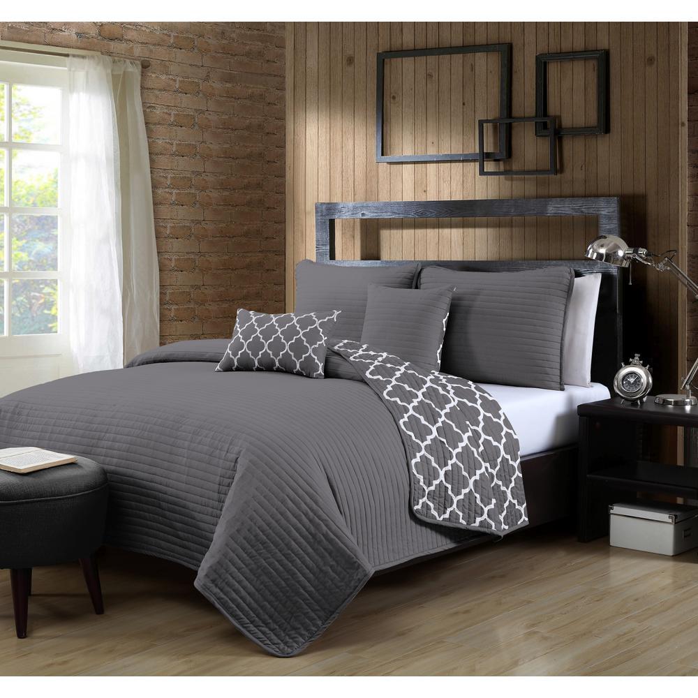 Avondale Manor Griffin 5 Piece King Grey Quilt Set