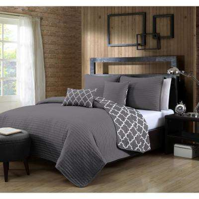 Griffin 5-Piece King Grey Quilt Set