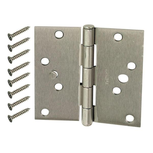 4 in. Satin Nickel Square Corner Security Door Hinges Value Pack (3-Pack)