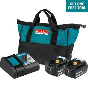 Makita 18V LXT Lithium-Ion Battery and Rapid Optimum Charger Starter Pack (5.0Ah) + FREE Tool (up to $159 value)