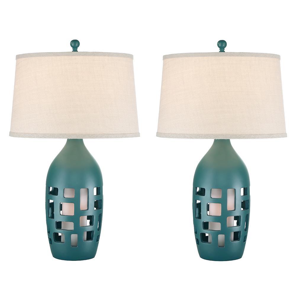 31 in. Largo Blue Indoor Table Lamp Set