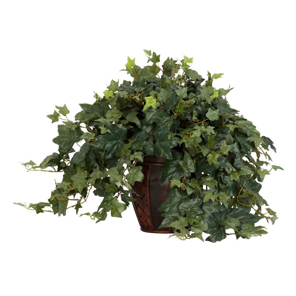 21 in. H Green Puff Ivy with Decorative Vase Silk Plant