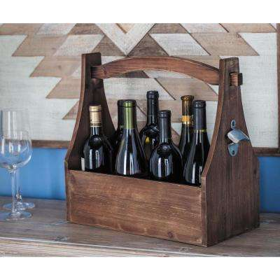 16 in. x 15 in. 8-Bottle Stained Brown Wine Holder