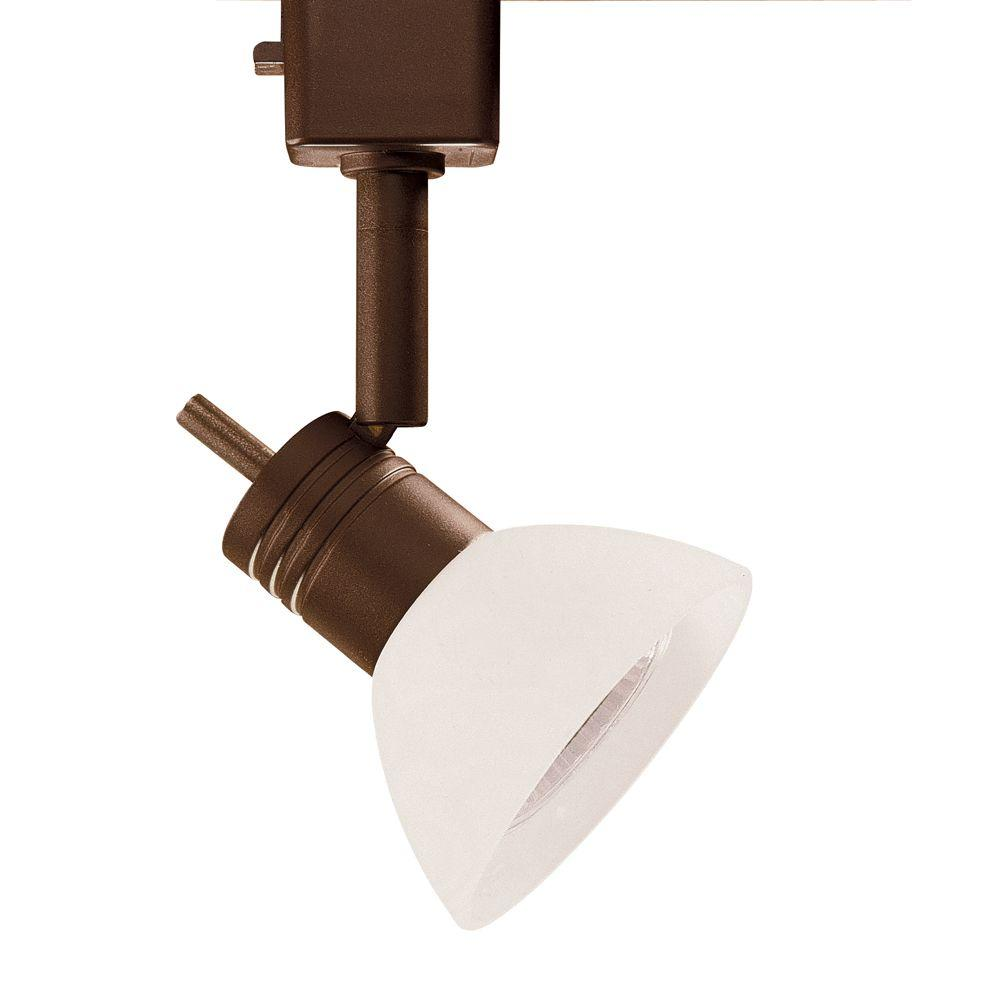 Designers Choice Collection Series 10 Line-Voltage GU-10 Oil-Rubbed Bronze Track Lighting Fixture with White Glass Shade