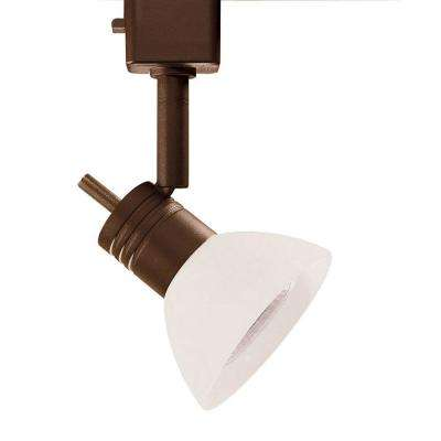 Series 10 Line-Voltage GU-10 Oil-Rubbed Bronze Track Lighting Fixture with White Glass Shade