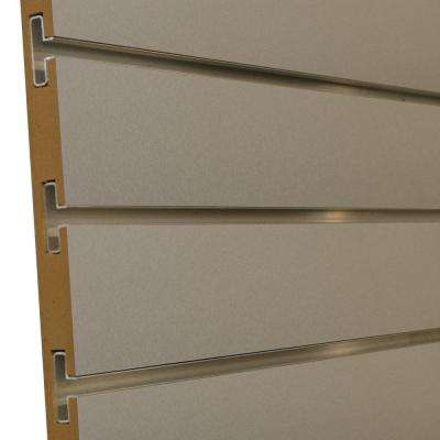 3/4 in. x 4 ft. x 8 ft. 3 in. OC Brushed Aluminum Melamine Slatwall with Aluminum Inserts, Plus 3 Inserts (5-Pack)