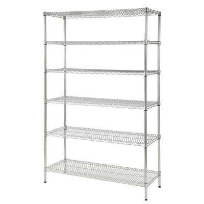 72 in. H x 48 in. W x 18 in. D 6-Shelves Wire Chrome Commercial Shelving Unit