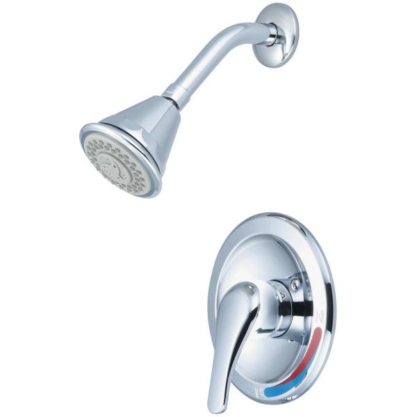 Elite 1-Handle Wall Mount Shower Faucet Trim Kit in Polished Chrome with 4 Function Showerhead (Valve not Included)