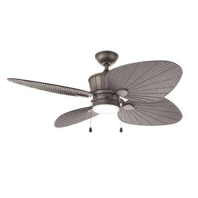 Pompeo 52 in. Integrated LED Indoor/Outdoor Natural Iron Ceiling Fan with Light Kit