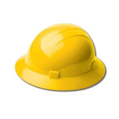 4-Point Nylon Suspension Mega Ratchet Full Brim High Heat Hard Hat in Yellow