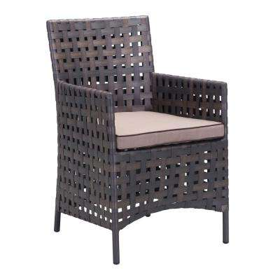 Pinery Wicker Outdoor Patio Dining Chair with Beige Cushion (Pack of 2)
