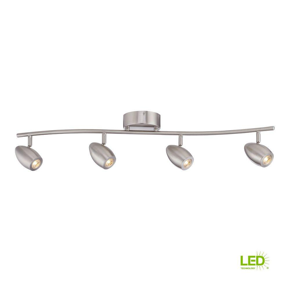 Envirolite 3 Ft Brushed Nickel Led Track Lighting Kit With 4 Lights