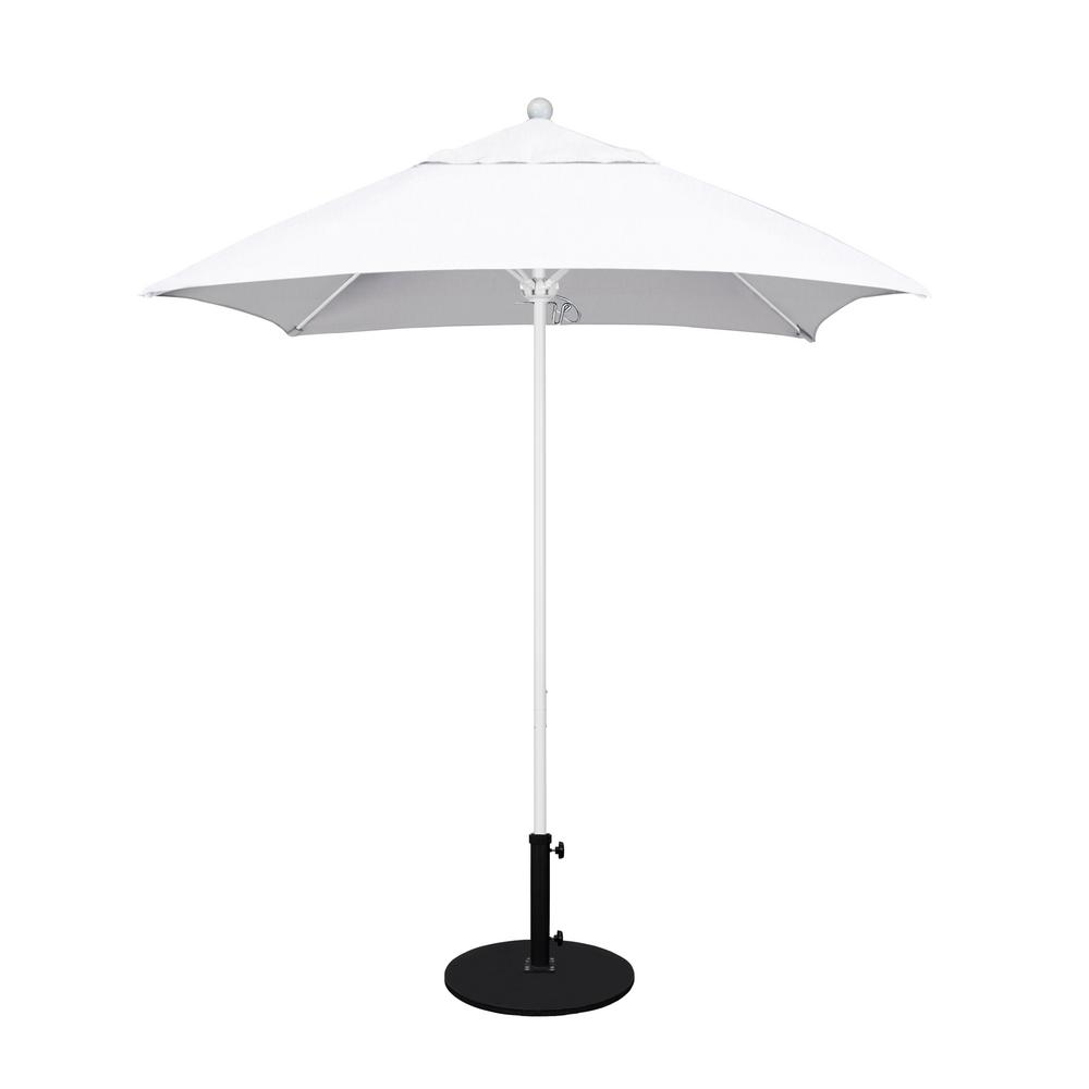 6 Ft White Aluminum Pole Market Fibergl Ribs Push Lift Patio Umbrella In Natural Sunbrella