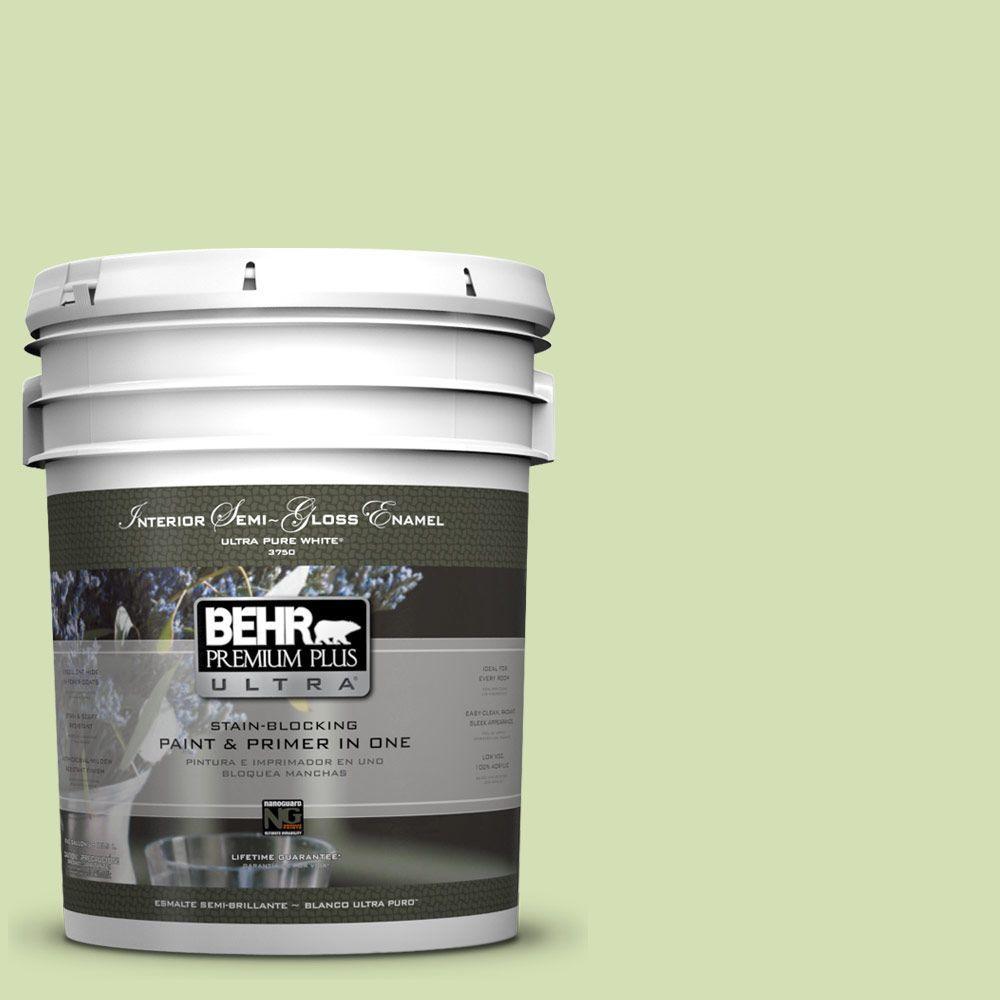 BEHR Premium Plus Ultra 5-gal. #420C-3 Celery Bunch Semi-Gloss Enamel Interior Paint