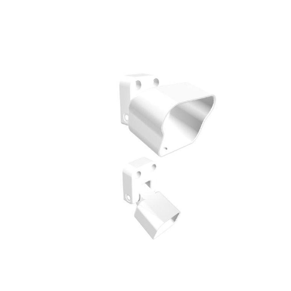 White Fine Textured Aluminum Stair Rail Bracket Kit (2-Piece)