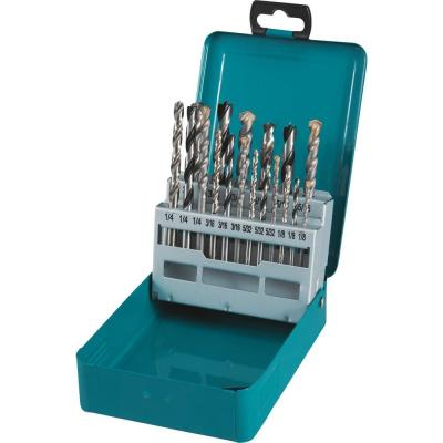 Assorted Drill Bit Set Metal Wood Masonry Straight Shank (18-Pieces) with Metal Carry Case