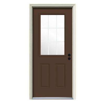 9 Lite Painted With White Interior Premium Steel Prehung Front Door With  Brickmould