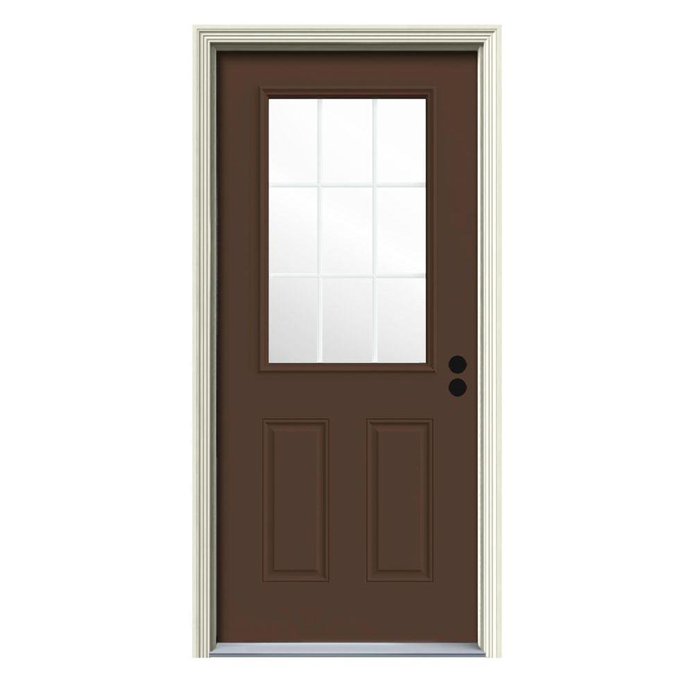 JELD-WEN 34 in. x 80 in. 9 Lite Dark Chocolate Painted Steel Prehung Left-Hand Inswing Front Door w/Brickmould