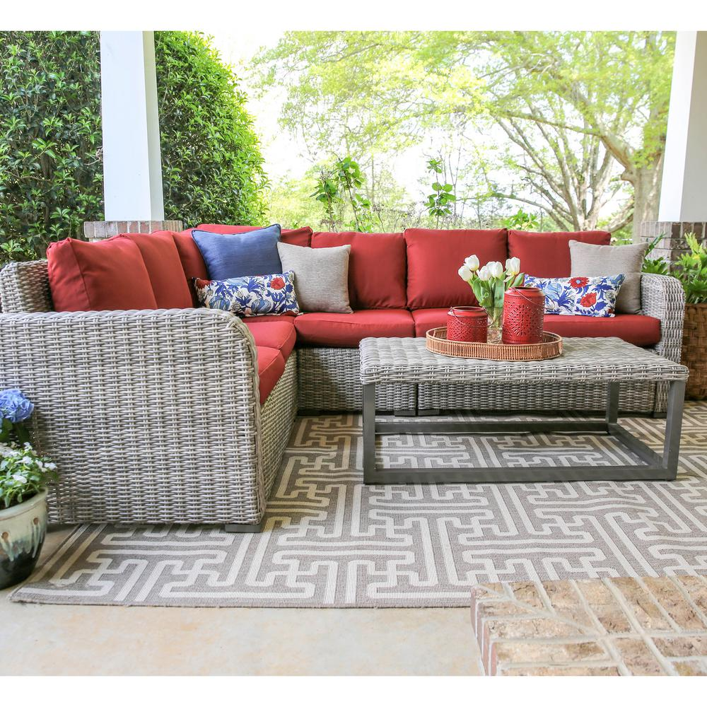 Forsyth 5-Piece Wicker Outdoor Sectional Set with Red Cushions